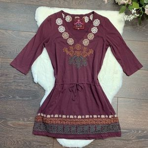 Johnny Was Embroidered V Neck Dress